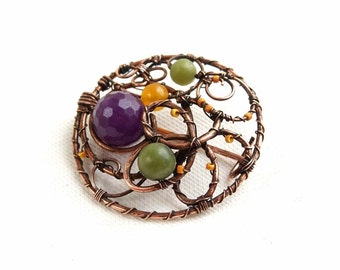 Round copper brooch Crocus, wire jewelry, lilac, yellow,green, amethyst and agate