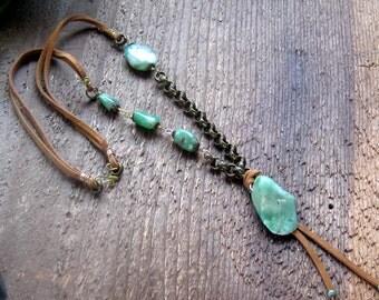 Green Chrysoprase Necklace Bohemian Jewelry