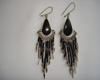 Vintage Hippie Earrings Black Onyx