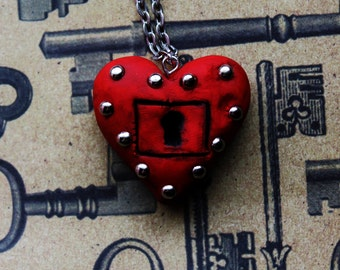 Polymer Clay Steampunk Locked Heart Necklace