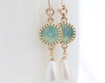 Mint Chandelier Earrings • Gold and pearl drop earrings set with a mint opal rhinestone • wedding jewelry