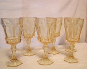Fostoria glasses  - water -  Virginia pattern Sun Gold or Yellow