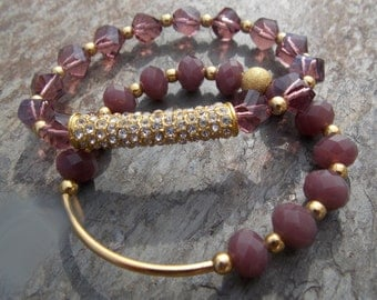 Thunder Polish Crystal Faceted Gold Beaded Set