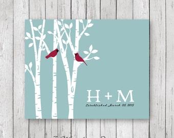 Couples Birch Tree Art Print, Personalized Initials, Cardinal Birds, Teal Blue Rain, 5x7, 8x10 or 11x14 // Anniversary, Wedding Gift