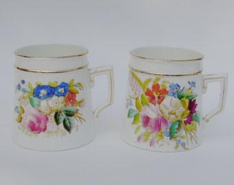 SALE - Pair of Beautiful Antique Hand Painted Mugs with Flowers