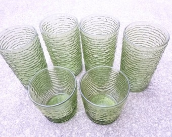 Mid Century Glassware Avocado Green Drinking Glasses Set of  6 Tumblers Vintage Bar Ware 1970s