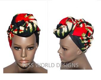 Tribal Print African head wraps , African Head wraps , African Hair Wraps , African Head scarf , African Head Ties ,  HT41