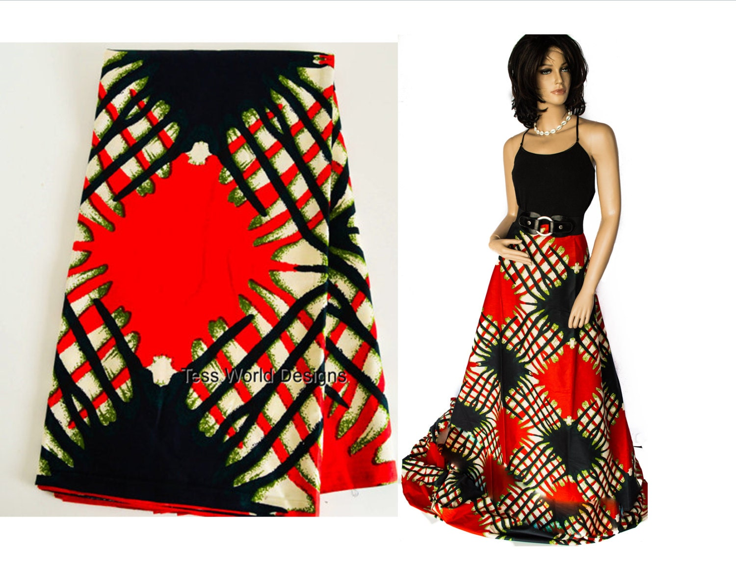 Wholesale African Textiles Fabric From Africa Ethnic Clothing Supplies Red Olive Green 6 Yards WP697