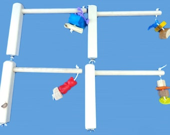 4 cage top bird perches or play perches with chew toys-4, HAND MADE