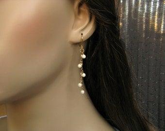 Gold Chain Beaded Dangle Earrings, Champagne Beaded Chain Earrings, Long Earrings, Bridal Jewelry