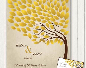 50th Anniversary Guest 16x20 Sign-In Poster - Wedding Guestbook Alternative-100 leaves-25th/40th Anniversary- READ DESCRIPTION -Other colors