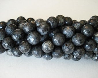 Black Labradorite Faceted avail.  12mm strand