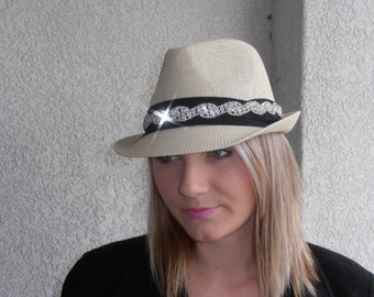 Womens tan weaved bling fedora hat