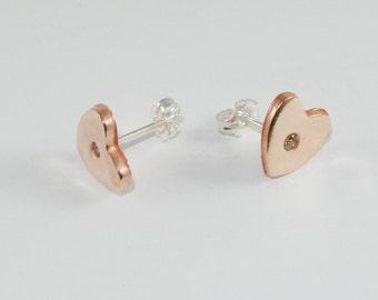 Heart Earrings Copper
