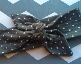 Charcoal with White Dot Knot Headband, Knot Headband, Polka Dot Headband, Baby Headband, Child Headband, Adult Knot Headband, Cloth Headband