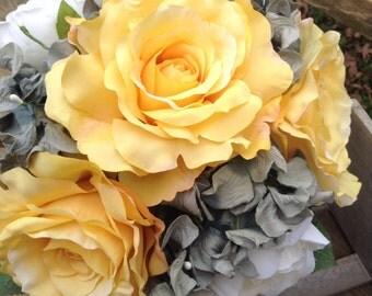 fall wedding. Yellow wedding bouquet. Silk flower wedding bouquet. Silk bouquet. Yellow and gray wedding. Yellow and grey.