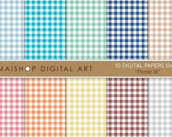 Digital Paper 'Picnic III' Gingham Patterns on Pantone Spring Colors for Backgrounds, Card Making, Scrapbooking, Invites, DIY Projects...