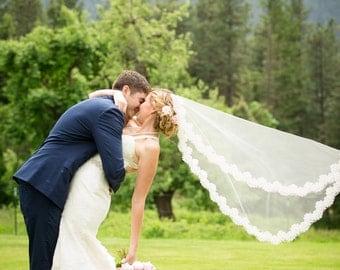 Lace Wedding Veil - Mantilla - Fingertip Length - Wedding Veil - Ivory Lace Veil