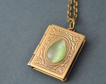 Book locket necklace with green teardrop cabochon,  Book jewelry - Book lover gift