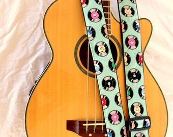 Retro Records Guitar Strap