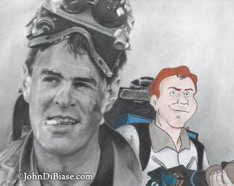 Dan Aykroyd as Ray Stantz in Ghostbusters with Real Ghostbusters Ray Drawing Print