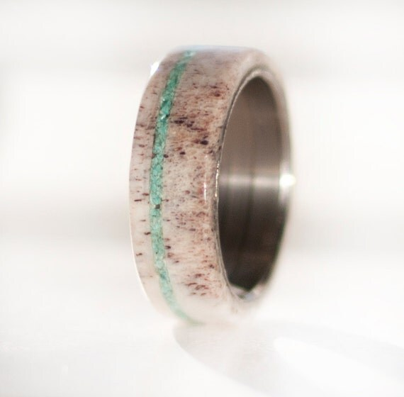 Men S Wedding Band Antler And Turquoise Ring Staghead