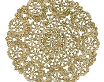 "100 Large Medallion Doilies, GOLD 8"" Foil, wedding party decor"