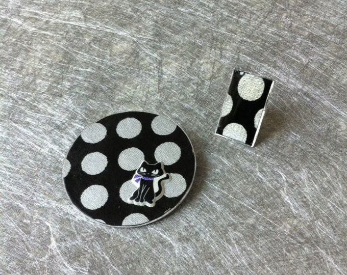 Cat Jewelry Set - Brooch and Ring - Paper jewelry - cat brooch - dots ring - black and silvery
