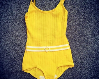 Vintage Bathing Suit / X Small - Small Swimsuit / 1960's Sunny Yellow One Piece / Swedish Design