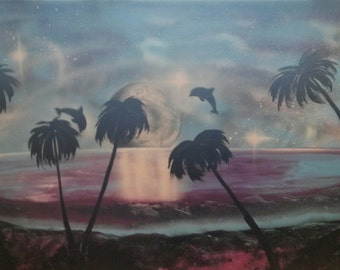 Tropical Beach - Spray Paint Art