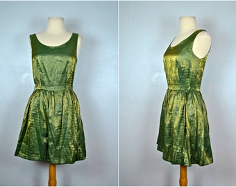 Vintage Green With Gold Highlights Dress, Vintage Green Hearts Dress