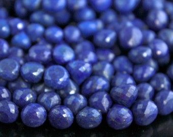 AAA peacock blue Lapis Lazuli onion gemstone briolette-faceted dark blue lapis large candy kiss briolette beads-6 Pcs-9-11 mm No.701