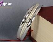 """Handcrafted Designer Set of 3 Polished & Satin Matte Finish Half Round Domed Solid 925K Sterling Silver Bangle Bracelet - 5mm, 65mm (2,55"""")"""