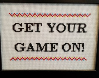 """Yugioh! GX """"Get your game on!"""" framed cross stitch"""