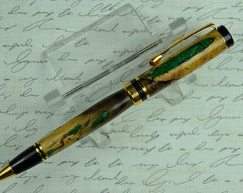 Gemstone Inlay Texas Pecan Ballpoint Pen Stunning African Malachite Groomsman Gift Mens Gift Ladies Gift Anniversary or Birthday Gift #122