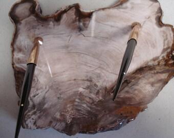 Vintage Sheaffer Petrified Wood Desk Set 14K Gold Fountain Pen Ballpoint Pen White Dot PW50