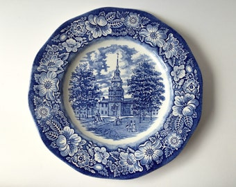 Amazing China blue plate from Liberty Blue, Staffordshire Ironstone