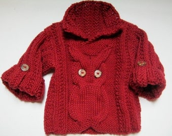 Hand knitted Owl sweater 0-3 months 100% cotton brick red.