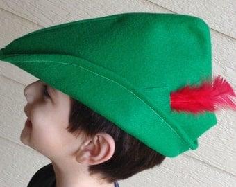 Felt Peter Pan Hat. Robin Hod Hat.
