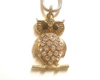 Long Owl Pendant Necklace Rhinestones 36 Inches