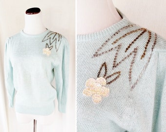 Vintage Shabby Chic Sequin 80s Sweater. Small / Medium