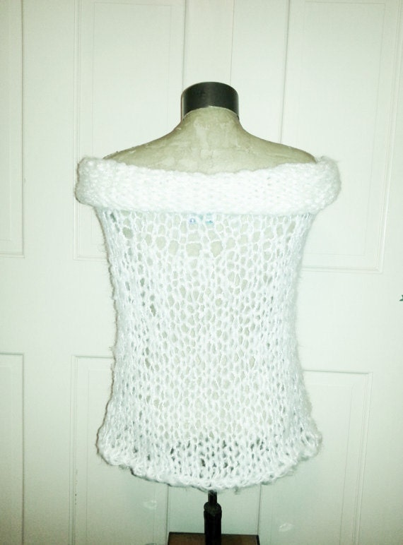 Loose Knit Shawl Pattern : Summer Shawl White Mohair loose knit rolled collar