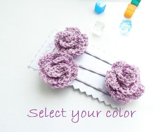 Crochet Hair Jewelry : hair bobby pins set of 3 pcs crochet hair accessories crochet flower ...