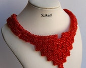 FREE SHIPPING Coral Seed Bead Bib Necklace for Women, Statement Beadwork Necklace, Original Women's Beadwoven Jewelry, Unique Gift, OOAK