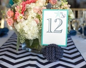 Nautical Wedding - 5 Navy Blue Nautical Rope Table Number Holders (4 inches) -navy wedding