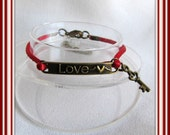 Love Charm Bracelet,  Red Satin Cord, Bracelet,  Antique Brass Lobster clasp, Antique Brass Charm, with 2 inch extender chain Item  #470
