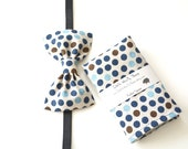 Linen dotted pocket square & bow tie, linen pocket square, men bow tie, wedding accessories, gifts for him, Father's day