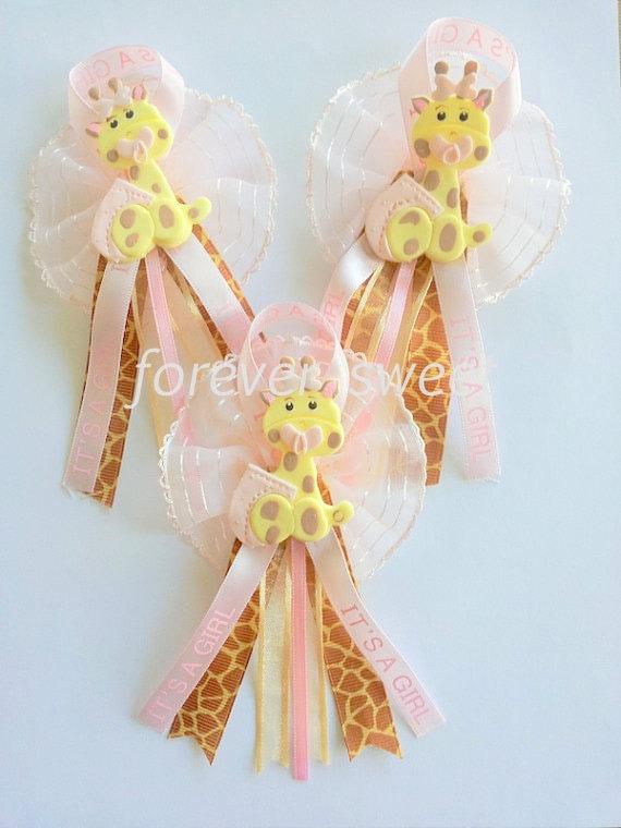 6 BABY SHOWER PINS. Giraffe baby shower favor. Baby Shower Corsage. Baby Shower Party Favor. Baby Shower.