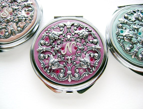 Personalized Bridesmaids Gifts Wedding Party- Set of 3 Compact Mirrors