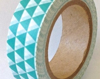 "CLEARANCE  Washi Tape ""Tribal"" in Turquoise  10 meters"